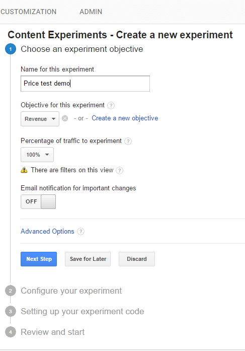 Create Google Content Experiment 1