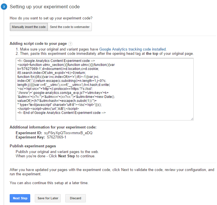 Create Google Content Experiment 4