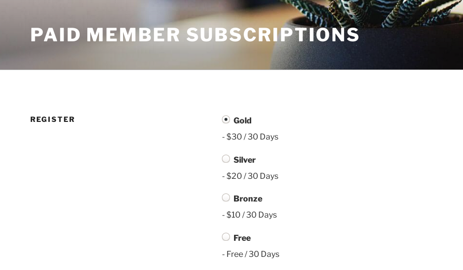 paid member subscription